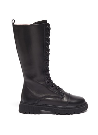 Main View - Click To Enlarge - WINK - Popsicle' Kids Lace Up Zipper Tall Leather Boots