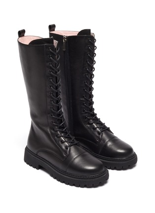 Figure View - Click To Enlarge - WINK - Popsicle' Kids Lace Up Zipper Tall Leather Boots
