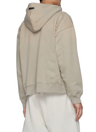 Back View - Click To Enlarge - FEAR OF GOD - Faded Effect Fleece Kangaroo Pocket Half Zip Hoodie