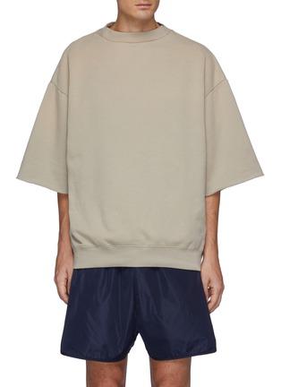 Main View - Click To Enlarge - FEAR OF GOD - Overlapped Three Quarter Sleeve Fleece Sweatshirt