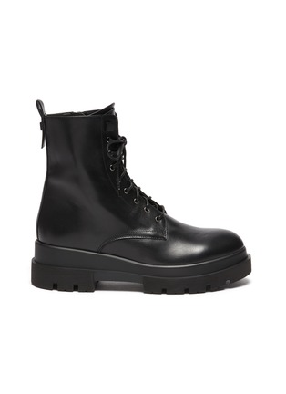 Main View - Click To Enlarge - LA CANADIENNE - Brendan' Rubber Lug Sole Lace Up Leather Combat Boots