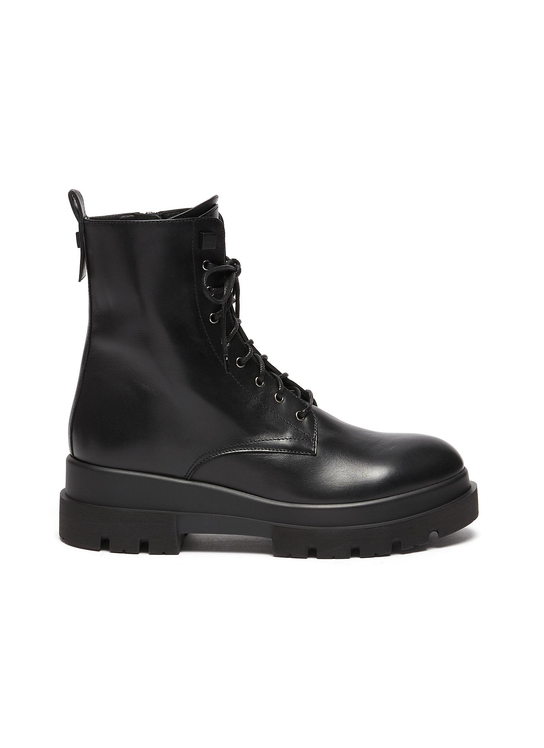 Brendan' Rubber Lug Sole Lace Up Leather Combat Boots