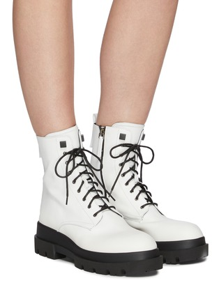 Figure View - Click To Enlarge - LA CANADIENNE - Brendan' Rubber Lug Sole Lace Up Leather Combat Boots