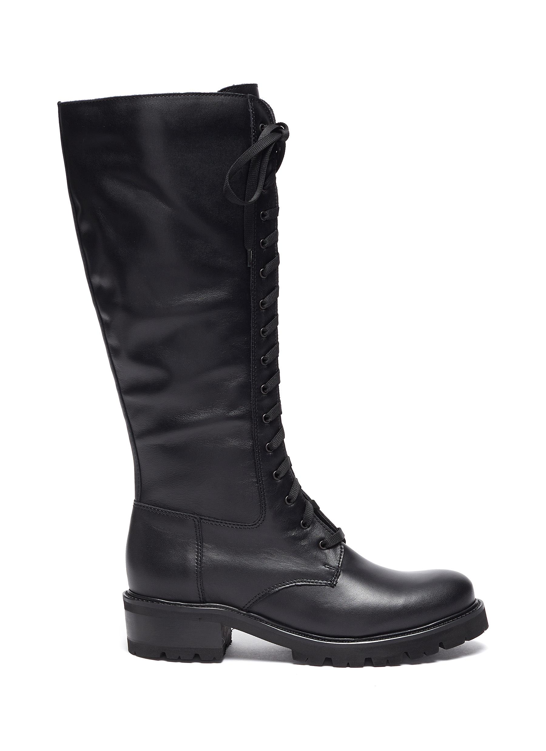 Caprice' Tall Lace Up Leather Boots
