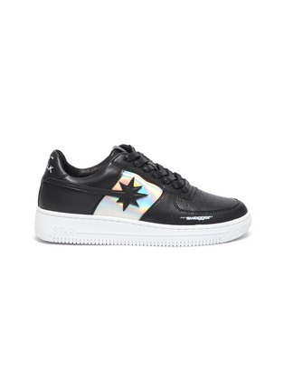 Main View - Click To Enlarge - STARWALK - Laser 2.0' Black Leather Sneakers With Iridescent Panels