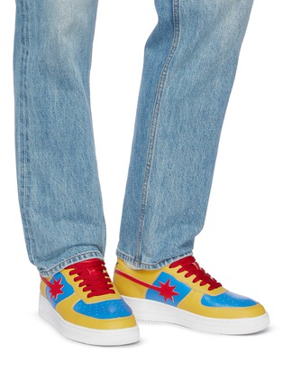 Figure View - Click To Enlarge - STARWALK - Red And Blue Panelled Yellow Leather Sneakers