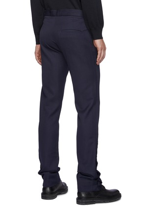 Back View - Click To Enlarge - DANIEL W. FLETCHER - Buttoned Split Hem Wool Blend Tailored Trousers