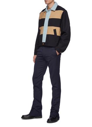 Figure View - Click To Enlarge - DANIEL W. FLETCHER - Buttoned Split Hem Wool Blend Tailored Trousers