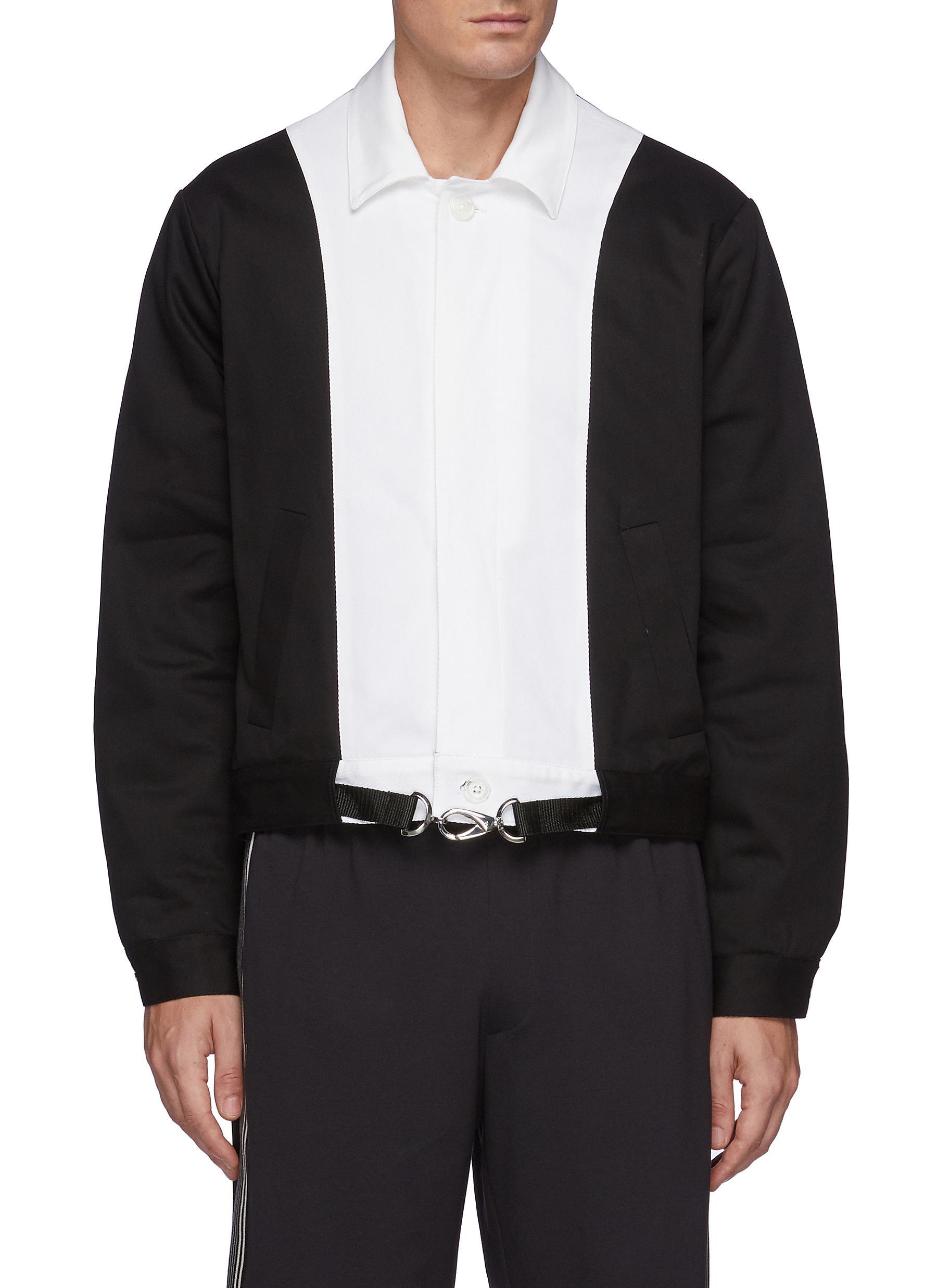 Contrasting Panel Cotton Blend Blouson Jacket