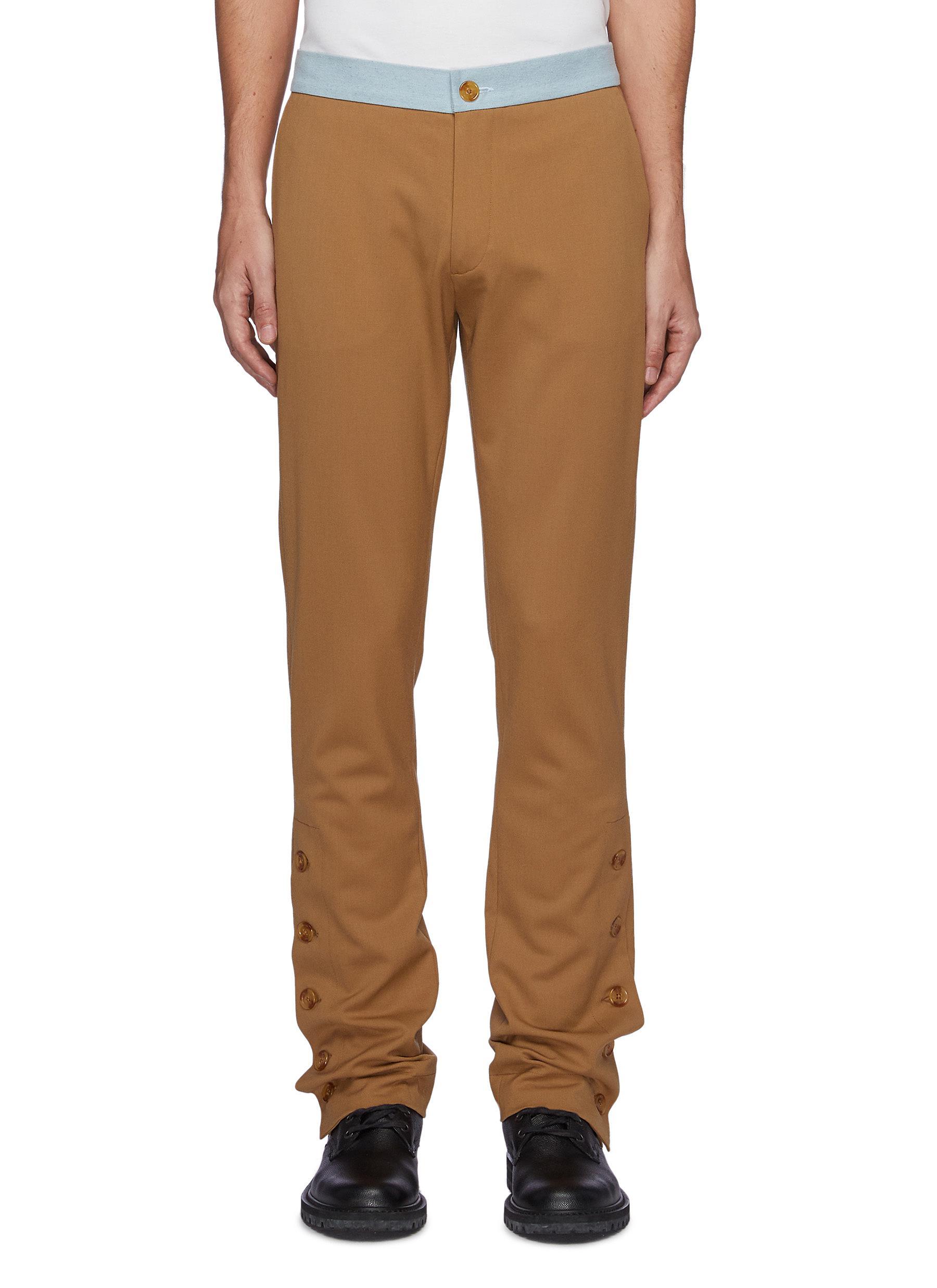 Buttoned Split Hem Wool Blend Tailored Trousers