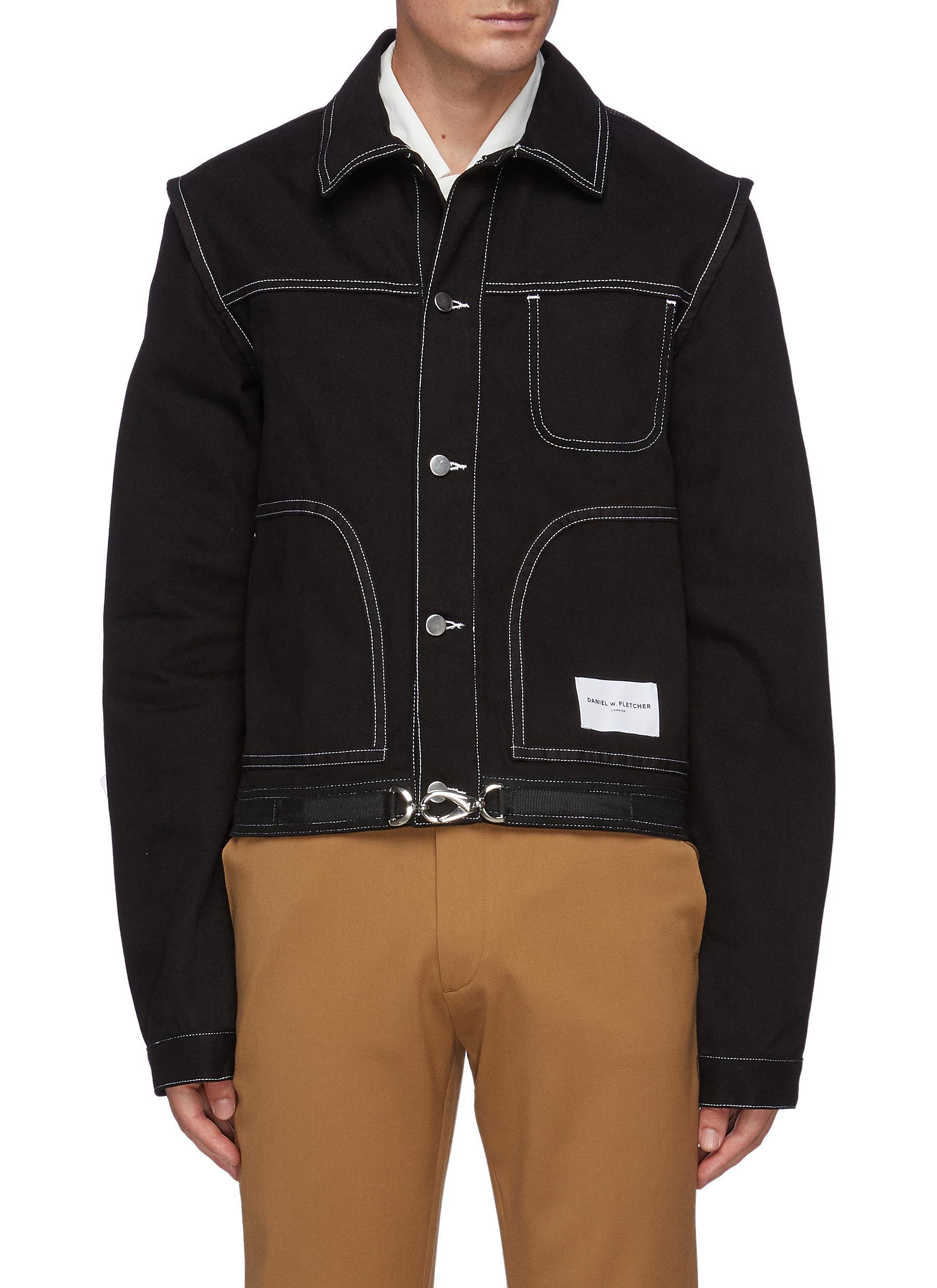 Contrasting Stitching Buckled Strap Denim Jacket
