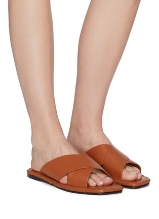 Figure View - Click To Enlarge - PEDDER RED - Addie' Crossed Leather Strap Padded Square Toe Flat Sandals