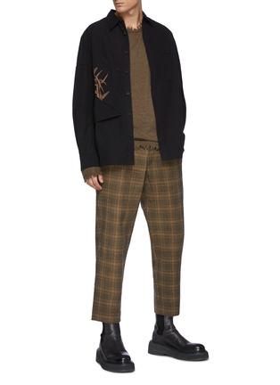 Figure View - Click To Enlarge - UMA WANG  - Tan Check Paz Wool Pants