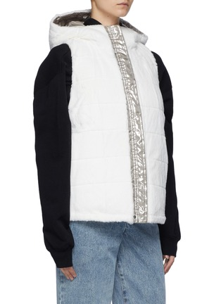 Detail View - Click To Enlarge - YVES SALOMON - Nylon and Shaved Rabbit Reversible Hooded Sleeveless Down Jacket