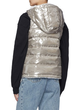 Back View - Click To Enlarge - YVES SALOMON - Nylon and Shaved Rabbit Reversible Hooded Sleeveless Down Jacket
