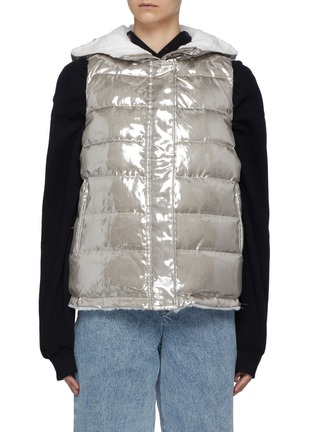 Main View - Click To Enlarge - YVES SALOMON - Nylon and Shaved Rabbit Reversible Hooded Sleeveless Down Jacket
