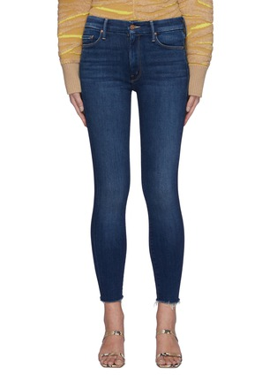 Main View - Click To Enlarge - MOTHER - The Looker' Frayed Hem Cropped Washed Skinny Jeans
