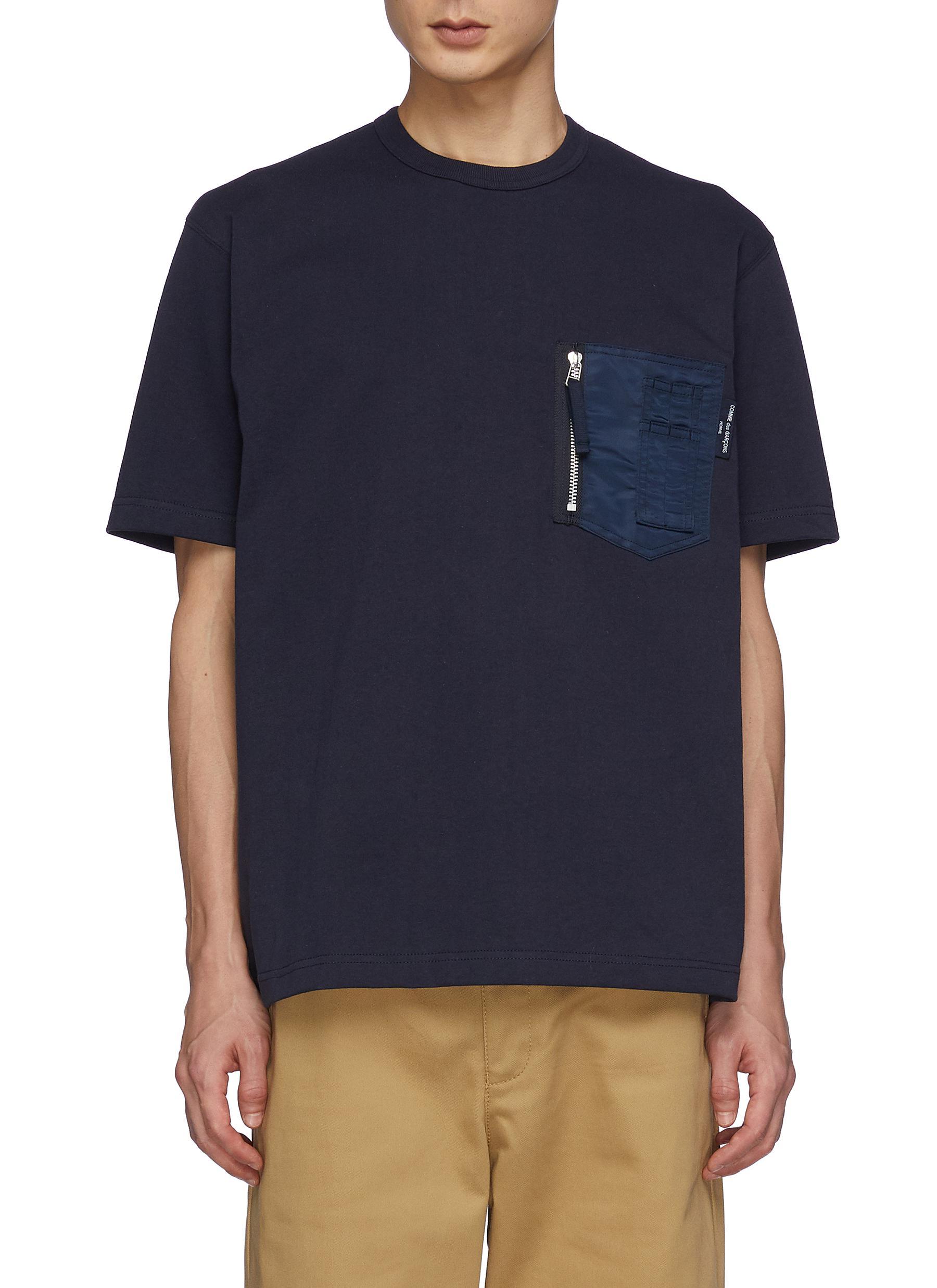 Cotton Crewneck Pocket T-Shirt