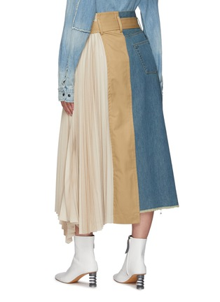 Back View - Click To Enlarge - THE KEIJI - Pleated Panel Denim Skirt