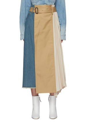 Main View - Click To Enlarge - THE KEIJI - Pleated Panel Denim Skirt