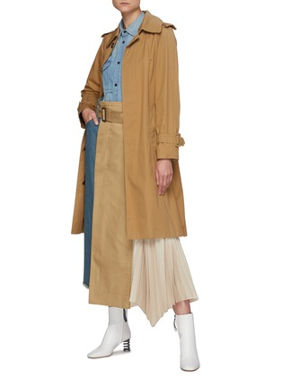 Figure View - Click To Enlarge - THE KEIJI - Pleated Panel Denim Skirt