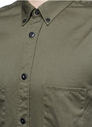 Detail View - Click To Enlarge - COVERT - Ribbed cuff cotton twill utility shirt