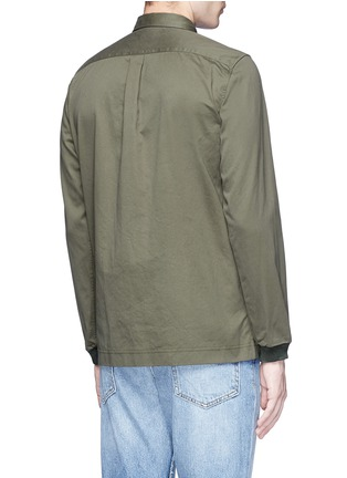 Back View - Click To Enlarge - COVERT - Ribbed cuff cotton twill utility shirt