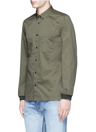 Front View - Click To Enlarge - COVERT - Ribbed cuff cotton twill utility shirt