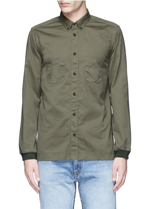 Main View - Click To Enlarge - COVERT - Ribbed cuff cotton twill utility shirt