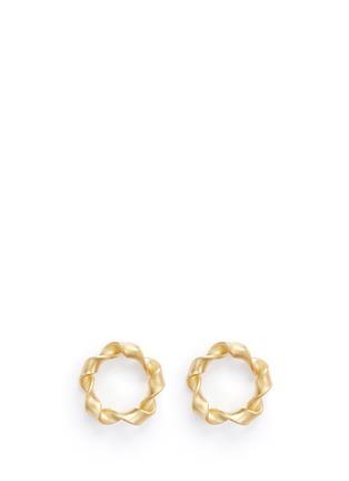 Main View - Click To Enlarge - Belinda Chang - 'Ribbon' matte 18k yellow gold hoop earrings