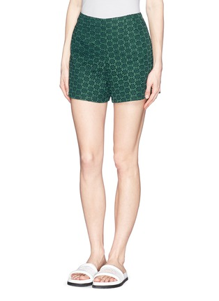 Front View - Click To Enlarge - Moncler - San Gallo lace shorts
