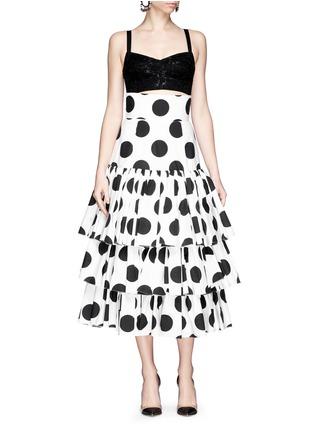 Figure View - Click To Enlarge - Dolce & Gabbana - Paint effect polka dot high waist tier skirt
