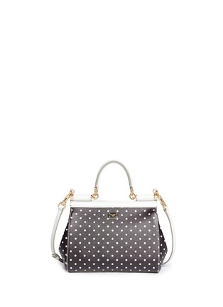 Back View - Click To Enlarge - - - 'Miss Sicily' mini polka dot leather satchel