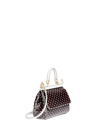 Front View - Click To Enlarge - - - 'Miss Sicily' mini polka dot leather satchel