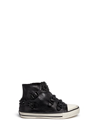 Main View - Click To Enlarge - Ash - 'Frog' stud leather kids sneakers