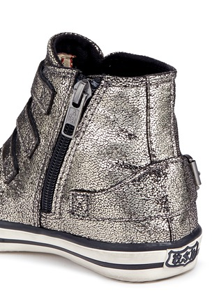 Detail View - Click To Enlarge - 90115 - 'Fanta' metallic leather toddler sneakers