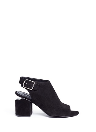 Main View - Click To Enlarge - ALEXANDERWANG - 'Nadia' cutout heel suede sandal booties