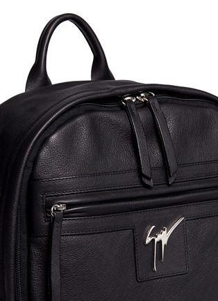 Detail View - Click To Enlarge - Giuseppe Zanotti Design - Logo plate leather backpack