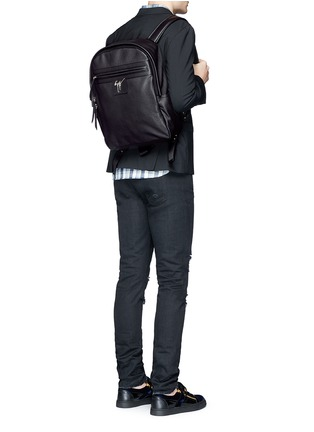 Figure View - Click To Enlarge - Giuseppe Zanotti Design - Logo plate leather backpack