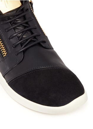 Detail View - Click To Enlarge - Giuseppe Zanotti Design - 'Singleg' mid top combo leather sneakers