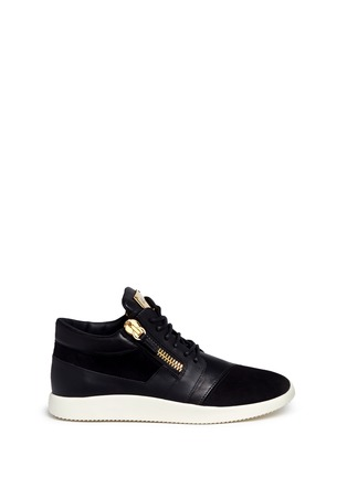 Main View - Click To Enlarge - Giuseppe Zanotti Design - 'Singleg' mid top combo leather sneakers