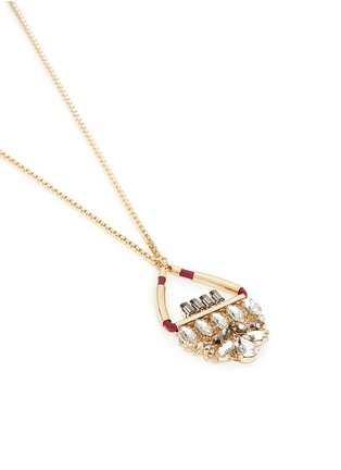 Detail View - Click To Enlarge - Anton Heunis - Swarovski crystal floral leather pendant necklace