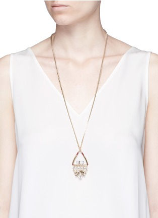 Figure View - Click To Enlarge - Anton Heunis - Swarovski crystal floral leather pendant necklace
