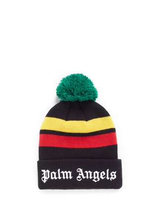 Main View - Click To Enlarge - Palm Angels - 'Rastafari' stripe pompom beanie
