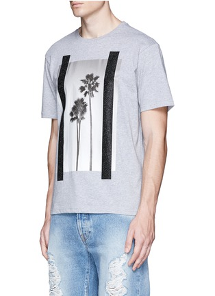 Front View - Click To Enlarge - Palm Angels - 'Palms' glitter print T-shirt