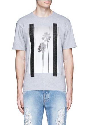 Main View - Click To Enlarge - Palm Angels - 'Palms' glitter print T-shirt