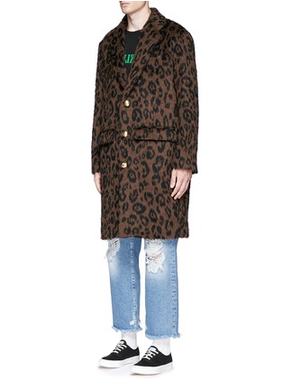 Front View - Click To Enlarge - Palm Angels - Leopard print mohair blend coat