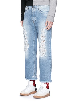 Front View - Click To Enlarge - Palm Angels - Vintage wash cropped ripped jeans