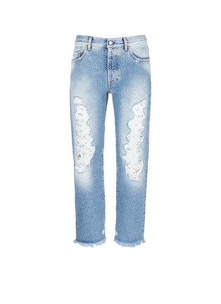 Main View - Click To Enlarge - Palm Angels - Vintage wash cropped ripped jeans