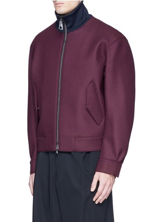 Front View - Click To Enlarge - WOOYOUNGMI - Jersey collar bonded wool bomber jacket